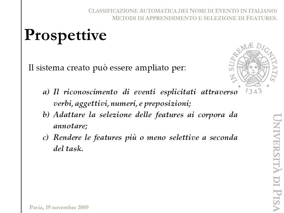 Prospettive Il sistema creato può essere ampliato per: a)Il riconoscimento di eventi esplicitati attraverso verbi, aggettivi, numeri, e preposizioni;