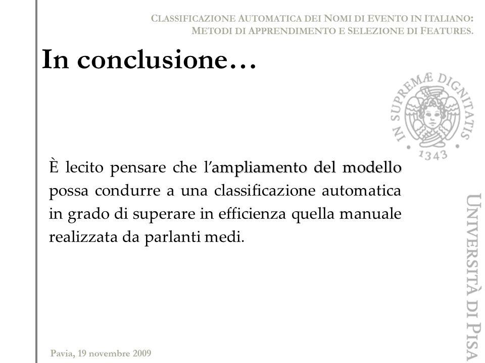 In conclusione… ampliamento del modello È lecito pensare che lampliamento del modello possa condurre a una classificazione automatica in grado di supe