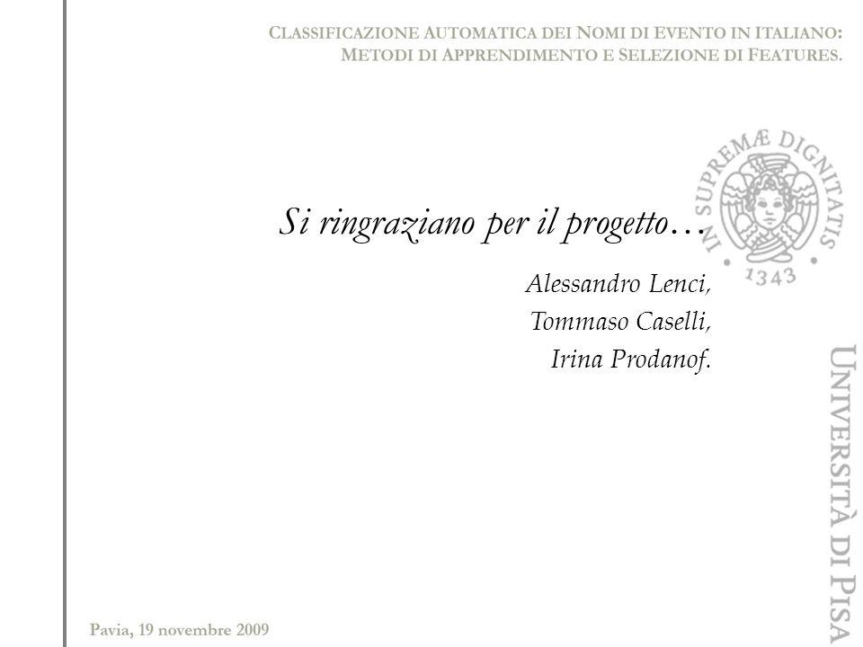 Si ringraziano per il progetto… Alessandro Lenci, Tommaso Caselli, Irina Prodanof.