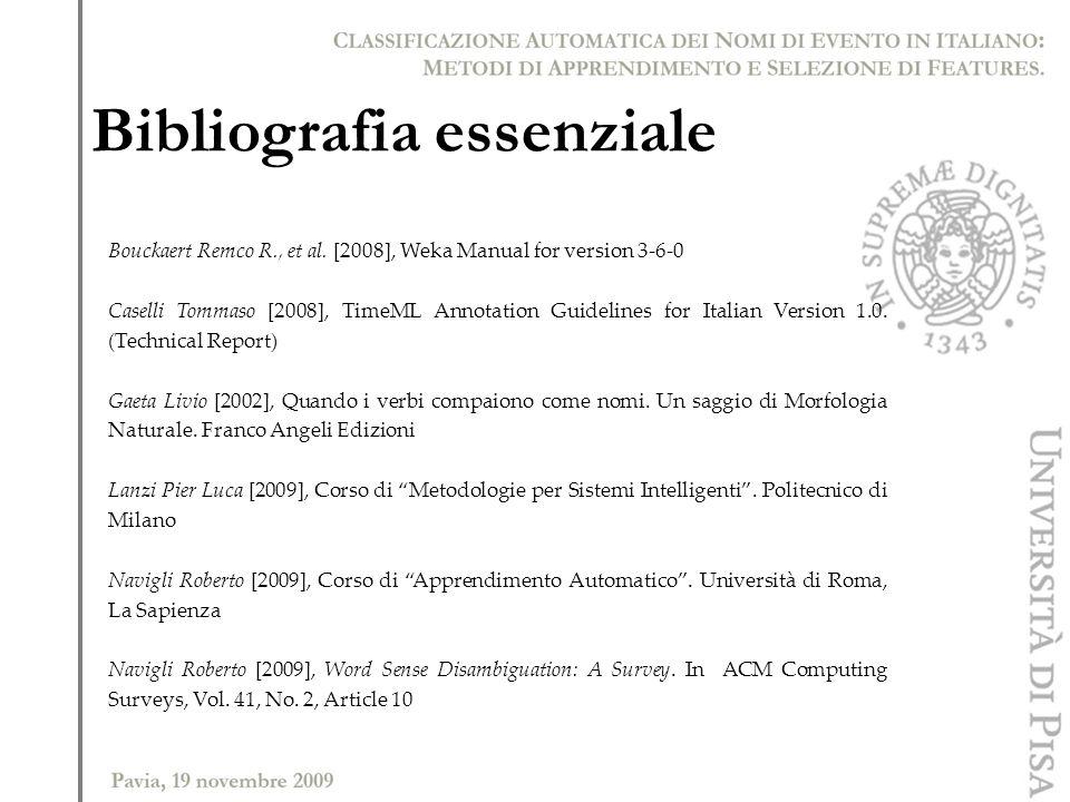 Bibliografia essenziale Bouckaert Remco R., et al. [2008], Weka Manual for version 3-6-0 Caselli Tommaso [2008], TimeML Annotation Guidelines for Ital