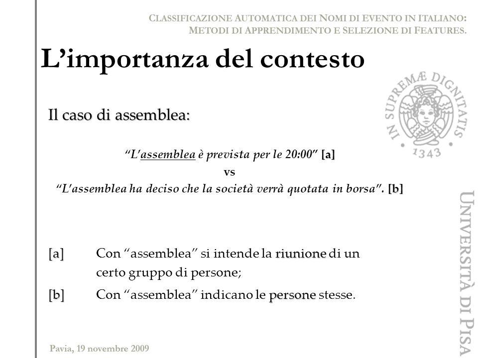 Il caso di assemblea: [a] Lassemblea è prevista per le 20:00 [a] vs [b] Lassemblea ha deciso che la società verrà quotata in borsa. [b] [a] riunione [