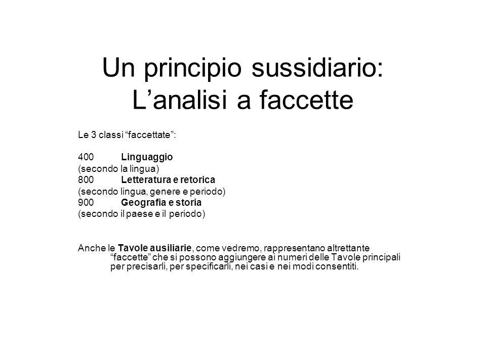 Un principio sussidiario: Lanalisi a faccette Le 3 classi faccettate: 400 Linguaggio (secondo la lingua) 800 Letteratura e retorica (secondo lingua, g