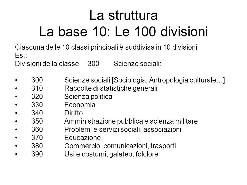 La struttura La base 10: Le 100 divisioni Ciascuna delle 10 classi principali è suddivisa in 10 divisioni Es.: Divisioni della classe 300Scienze socia