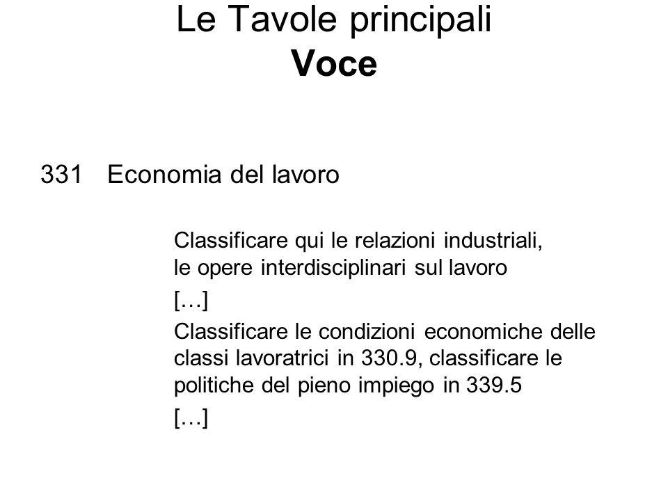 Le Tavole principali Voce 331Economia del lavoro Classificare qui le relazioni industriali, le opere interdisciplinari sul lavoro […] Classificare le