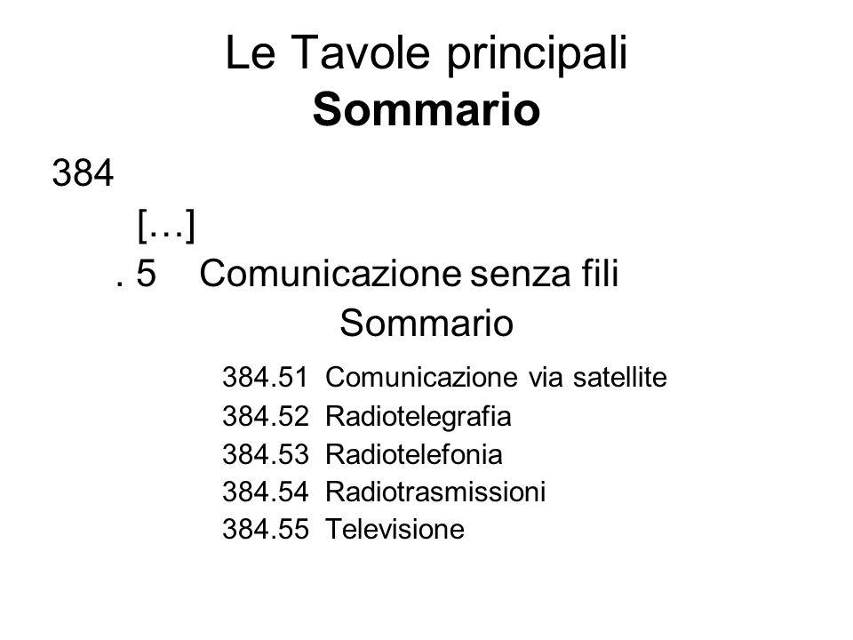 Le Tavole principali Sommario 384 […]. 5 Comunicazione senza fili Sommario 384.51 Comunicazione via satellite 384.52 Radiotelegrafia 384.53 Radiotelef