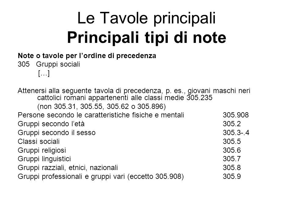 Le Tavole principali Principali tipi di note Note o tavole per lordine di precedenza 305 Gruppi sociali […] Attenersi alla seguente tavola di preceden