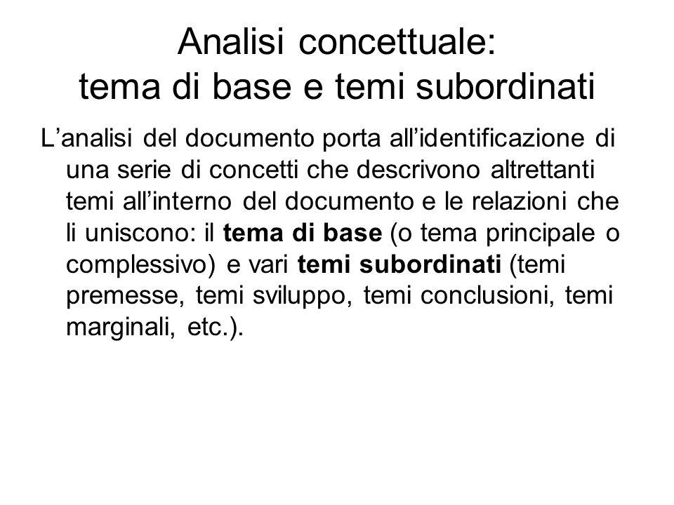 Analisi concettuale: tema di base e temi subordinati Lanalisi del documento porta allidentificazione di una serie di concetti che descrivono altrettan