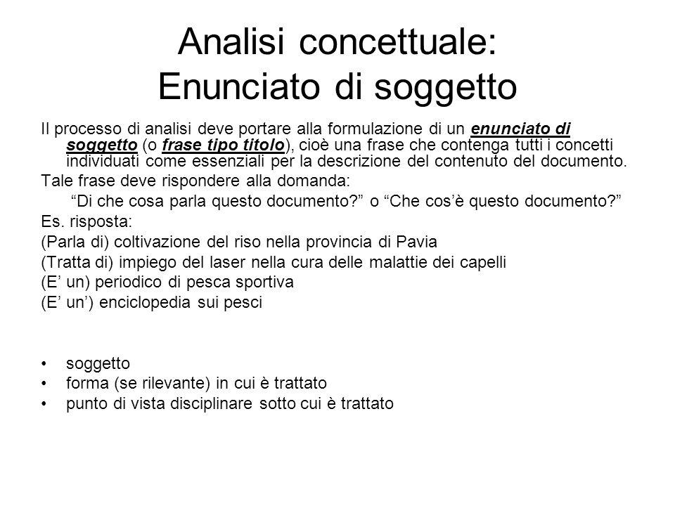 Analisi concettuale: Enunciato di soggetto Il processo di analisi deve portare alla formulazione di un enunciato di soggetto (o frase tipo titolo), ci