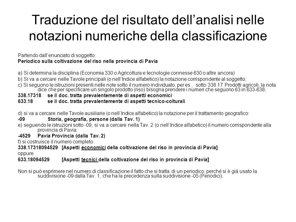 Traduzione del risultato dellanalisi nelle notazioni numeriche della classificazione Partendo dallenunciato di soggetto: Periodico sulla coltivazione