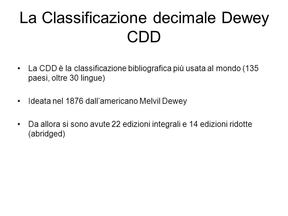 La Classificazione decimale Dewey CDD La CDD è la classificazione bibliografica più usata al mondo (135 paesi, oltre 30 lingue) Ideata nel 1876 dallam
