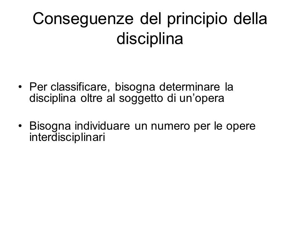 Conseguenze del principio della disciplina Per classificare, bisogna determinare la disciplina oltre al soggetto di unopera Bisogna individuare un num