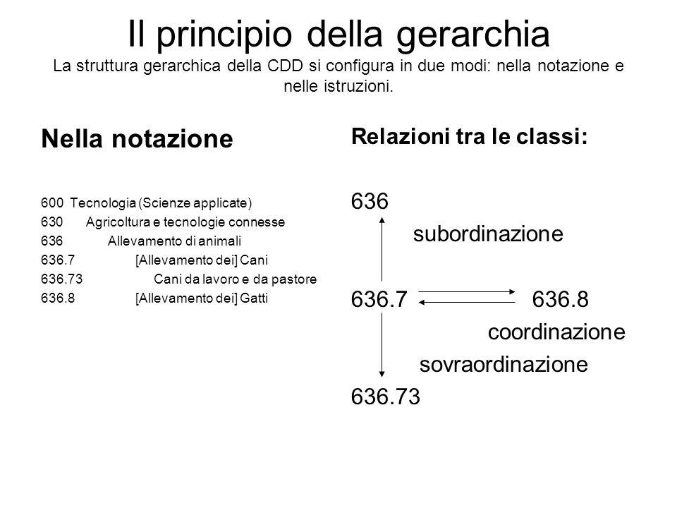 Il principio della gerarchia La struttura gerarchica della CDD si configura in due modi: nella notazione e nelle istruzioni. Nella notazione 600 Tecno