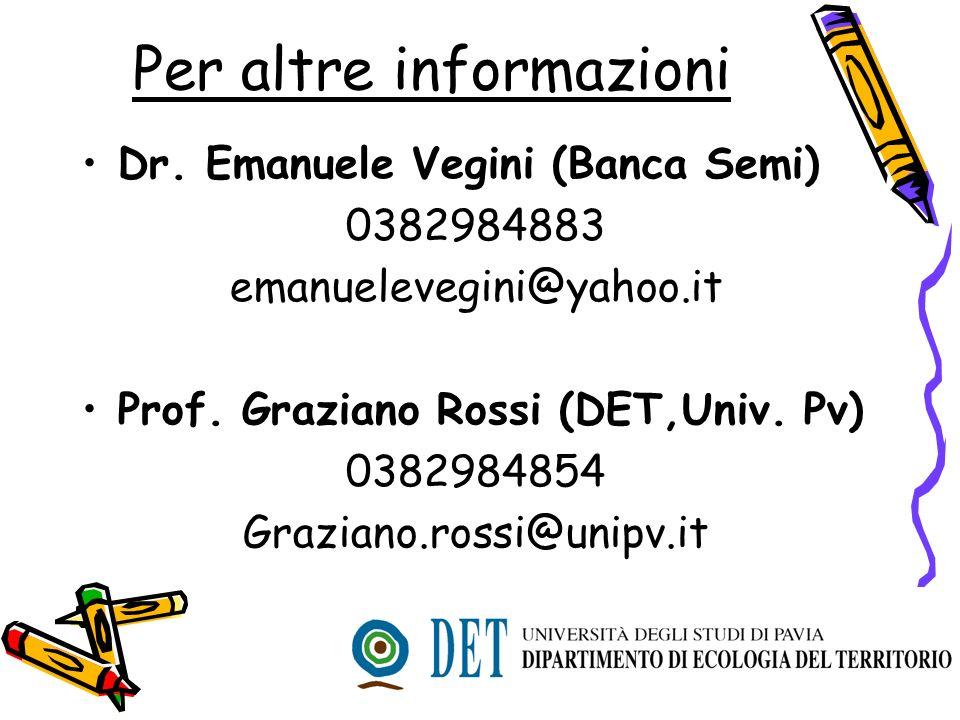 Per altre informazioni Dr. Emanuele Vegini (Banca Semi) 0382984883 emanuelevegini@yahoo.it Prof. Graziano Rossi (DET,Univ. Pv) 0382984854 Graziano.ros