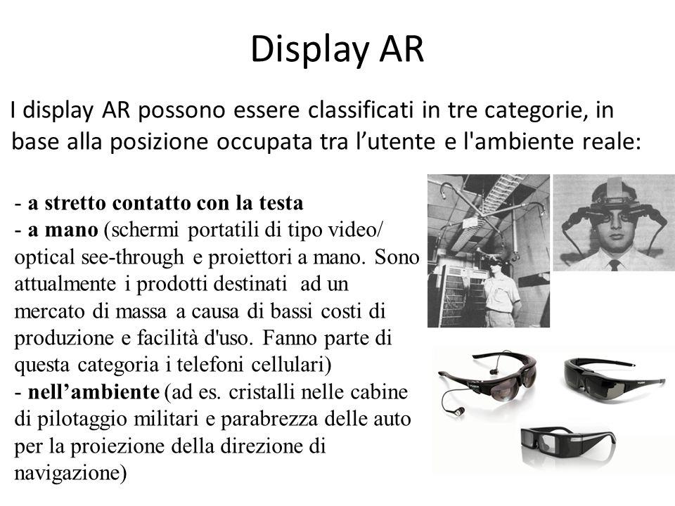 Display AR I display AR possono essere classificati in tre categorie, in base alla posizione occupata tra lutente e l'ambiente reale: - a stretto cont