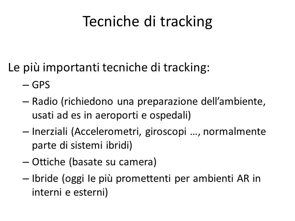 Tecniche di tracking Le più importanti tecniche di tracking: – GPS – Radio (richiedono una preparazione dellambiente, usati ad es in aeroporti e osped