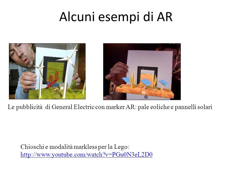 Alcuni esempi di AR Le pubblicità di General Electric con marker AR: pale eoliche e pannelli solari Chioschi e modalità markless per la Lego: http://w