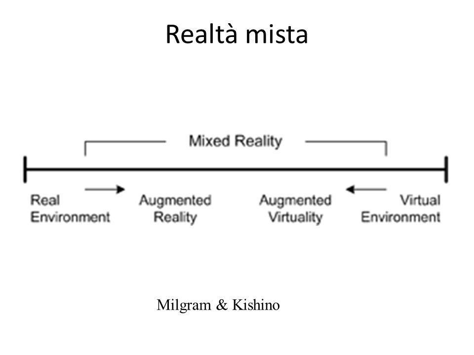 La realtà aumentata Un sistema AR: combina oggetti reali e virtuali in un ambiente reale registra gli oggetti reali e virtuali funziona interattivamente, in 3 dimensioni e in tempo reale