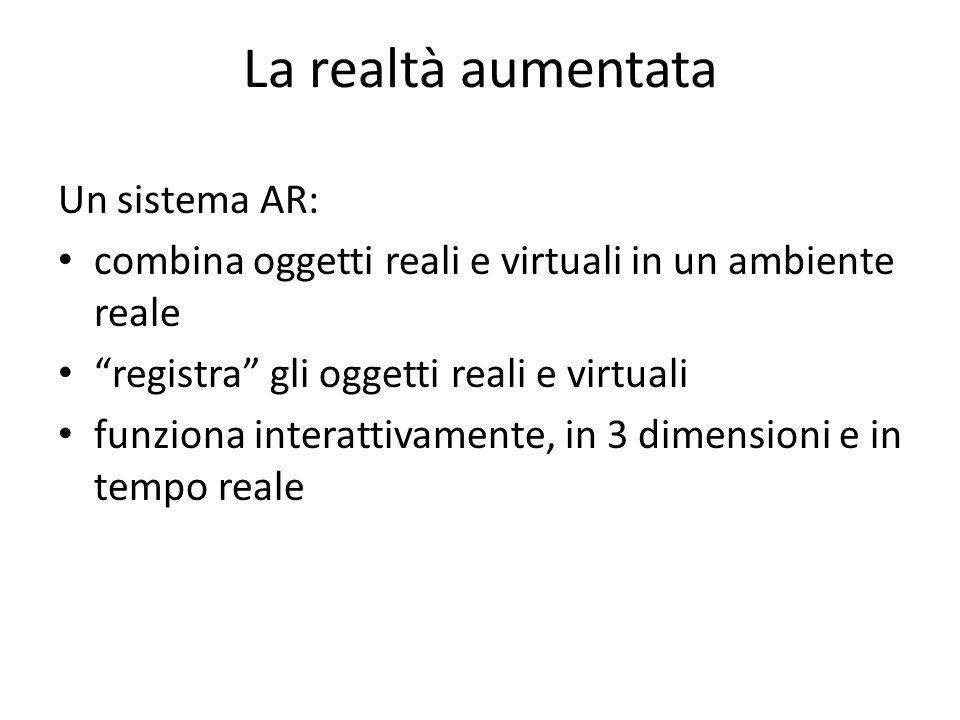 La realtà aumentata Un sistema AR: combina oggetti reali e virtuali in un ambiente reale registra gli oggetti reali e virtuali funziona interattivamen