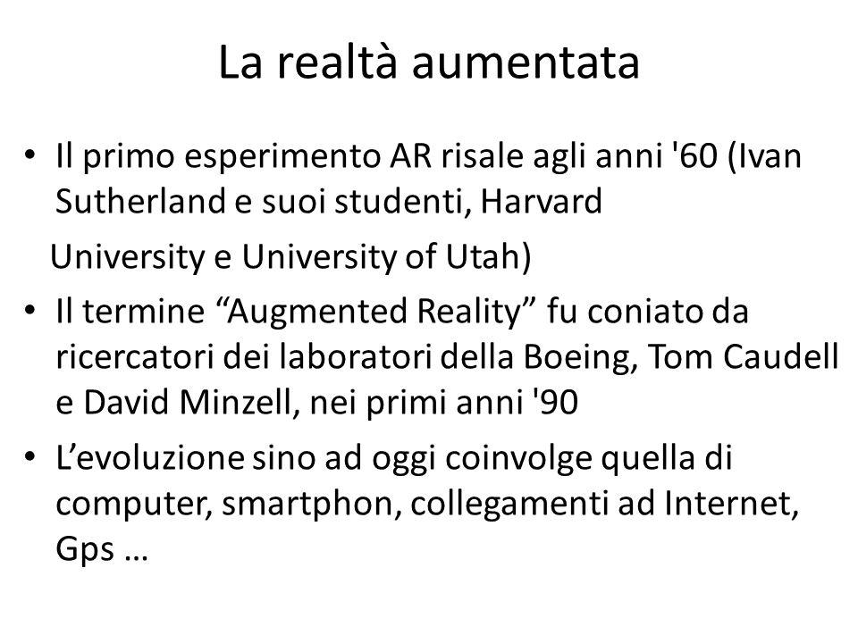 La realtà aumentata Il primo esperimento AR risale agli anni '60 (Ivan Sutherland e suoi studenti, Harvard University e University of Utah) Il termine