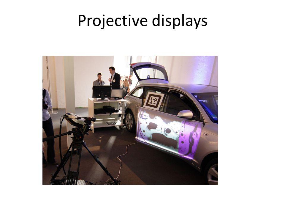 Display AR I display AR possono essere classificati in tre categorie, in base alla posizione occupata tra lutente e l ambiente reale: - a stretto contatto con la testa - a mano (schermi portatili di tipo video/ optical see-through e proiettori a mano.