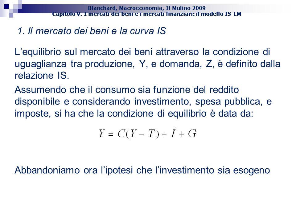 Blanchard, Macroeconomia, Il Mulino 2009 Capitolo V. I mercati dei beni e i mercati finanziari: il modello IS-LM 2 1. Il mercato dei beni e la curva I