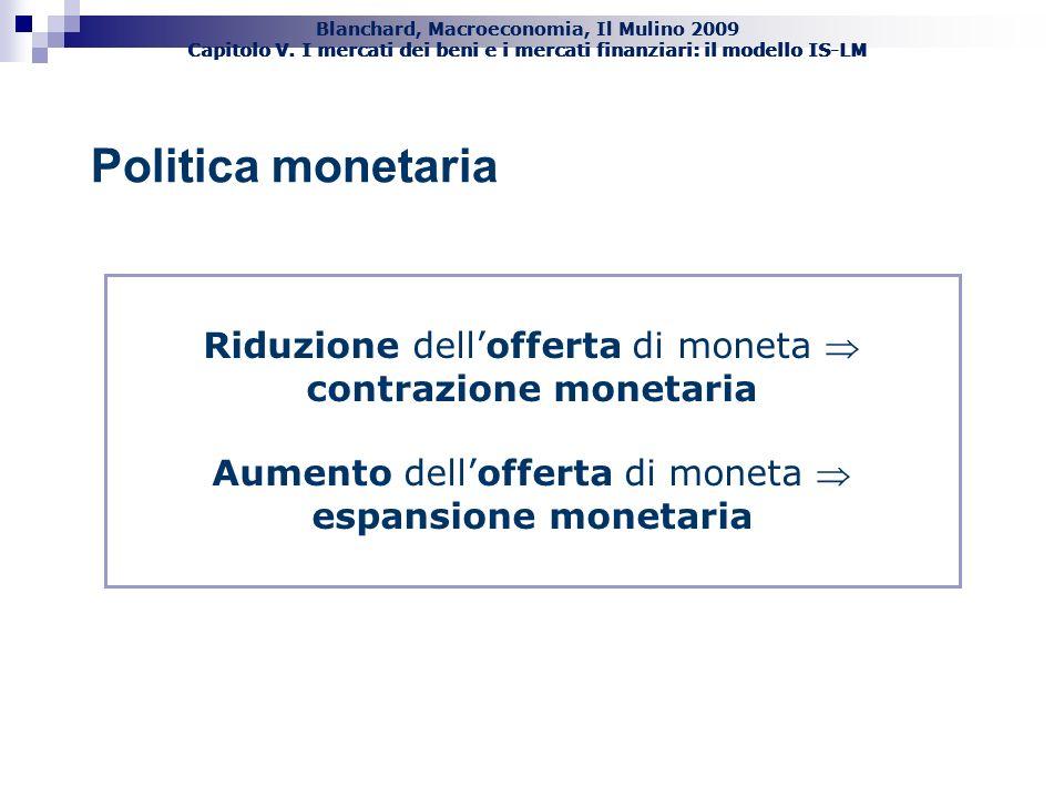 Blanchard, Macroeconomia, Il Mulino 2009 Capitolo V. I mercati dei beni e i mercati finanziari: il modello IS-LM 30 Politica monetaria Riduzione dello
