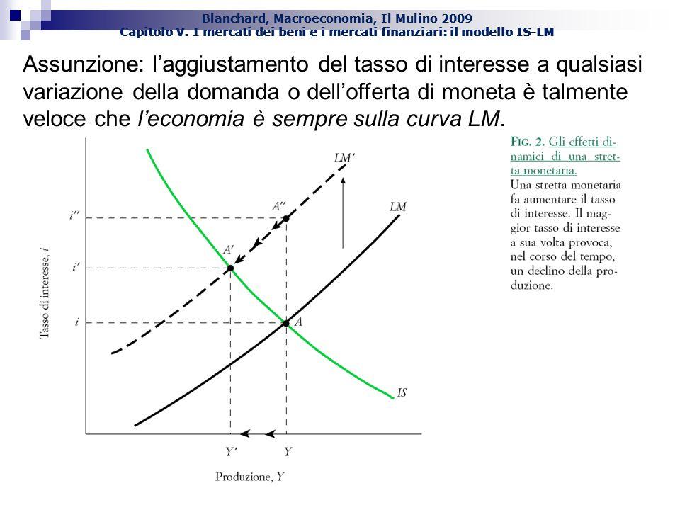 Blanchard, Macroeconomia, Il Mulino 2009 Capitolo V. I mercati dei beni e i mercati finanziari: il modello IS-LM Assunzione: laggiustamento del tasso
