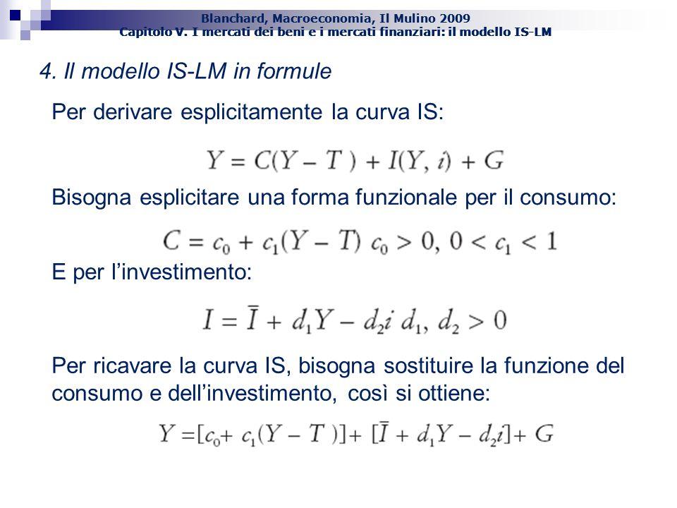 38 4. Il modello IS-LM in formule Per derivare esplicitamente la curva IS: Per ricavare la curva IS, bisogna sostituire la funzione del consumo e dell