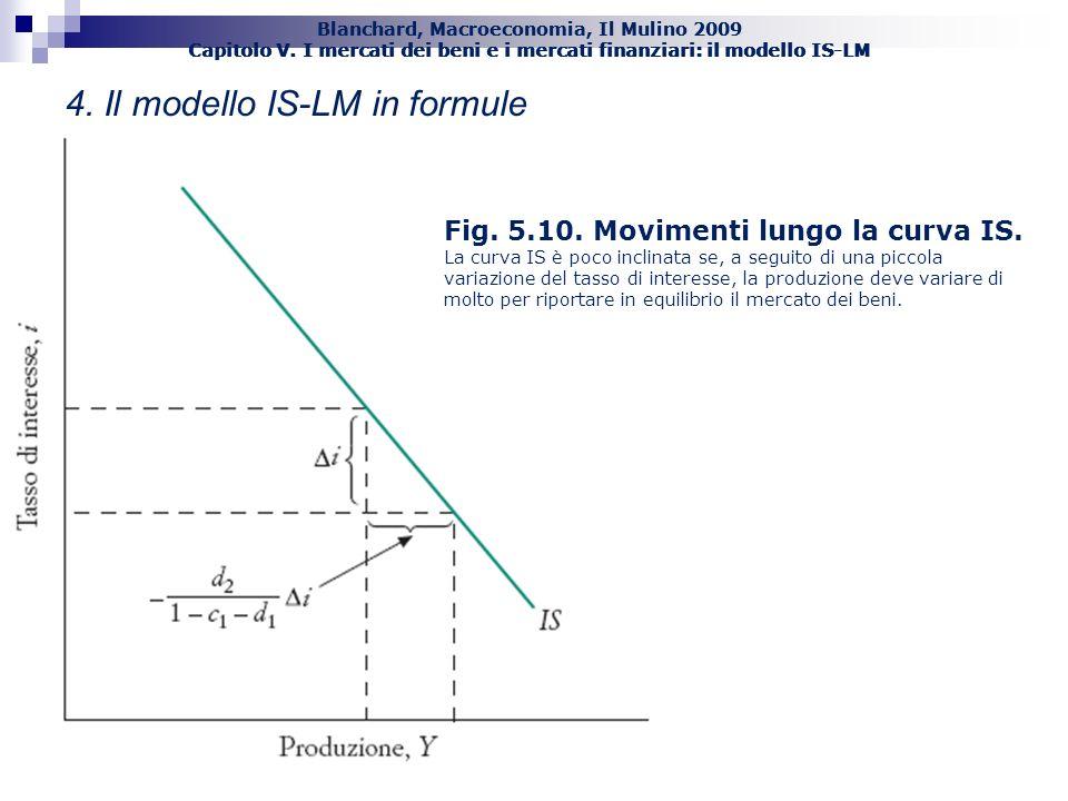 Blanchard, Macroeconomia, Il Mulino 2009 Capitolo V. I mercati dei beni e i mercati finanziari: il modello IS-LM 43 Fig. 5.10. Movimenti lungo la curv