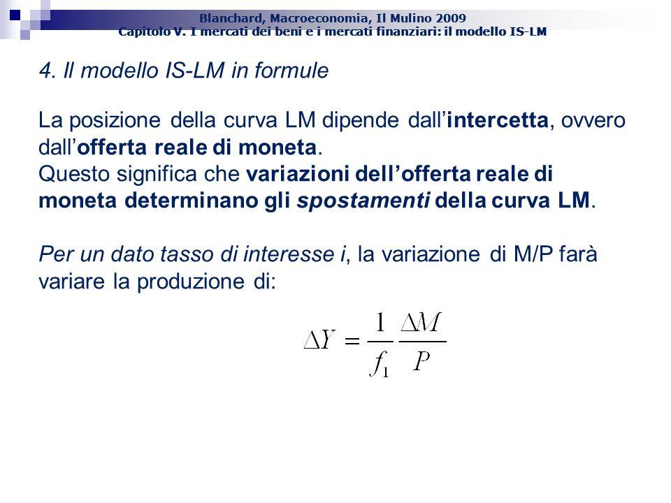 Blanchard, Macroeconomia, Il Mulino 2009 Capitolo V. I mercati dei beni e i mercati finanziari: il modello IS-LM 46 4. Il modello IS-LM in formule La