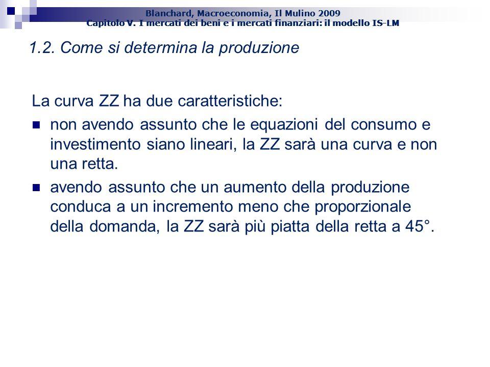 Blanchard, Macroeconomia, Il Mulino 2009 Capitolo V. I mercati dei beni e i mercati finanziari: il modello IS-LM 5 1.2. Come si determina la produzion