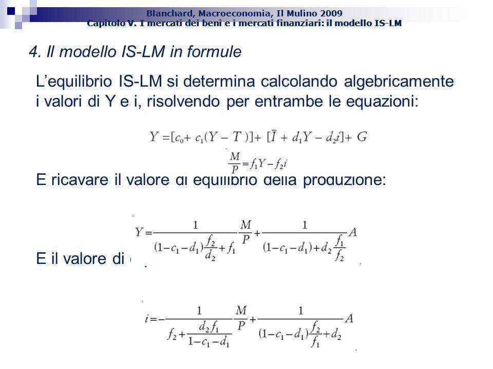 Blanchard, Macroeconomia, Il Mulino 2009 Capitolo V. I mercati dei beni e i mercati finanziari: il modello IS-LM 51 4. Il modello IS-LM in formule Leq
