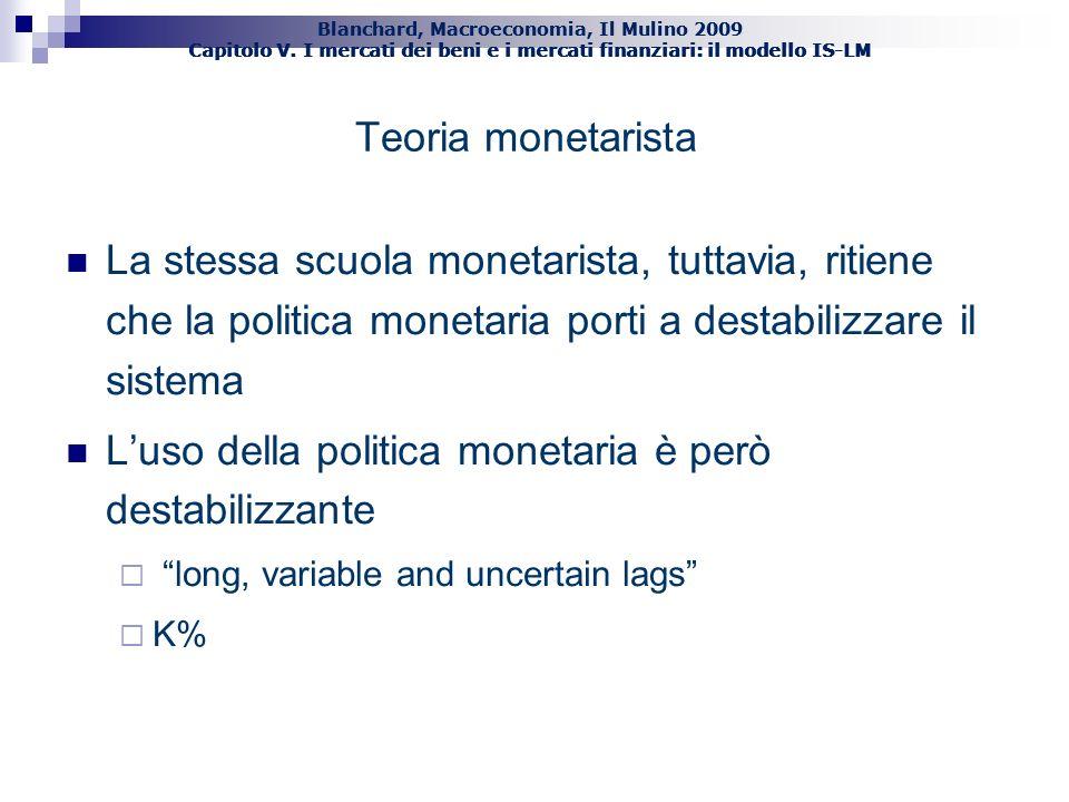 Blanchard, Macroeconomia, Il Mulino 2009 Capitolo V. I mercati dei beni e i mercati finanziari: il modello IS-LM La stessa scuola monetarista, tuttavi