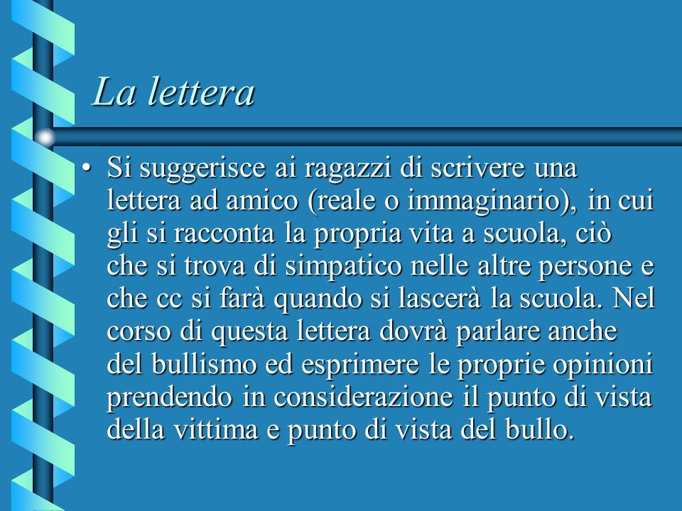 La lettera Si suggerisce ai ragazzi di scrivere una lettera ad amico (reale o immaginario), in cui gli si racconta la propria vita a scuola, ciò che s