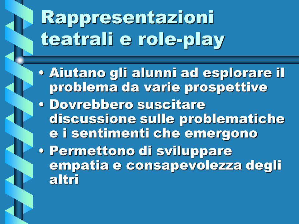 Rappresentazioni teatrali e role-play Aiutano gli alunni ad esplorare il problema da varie prospettiveAiutano gli alunni ad esplorare il problema da v