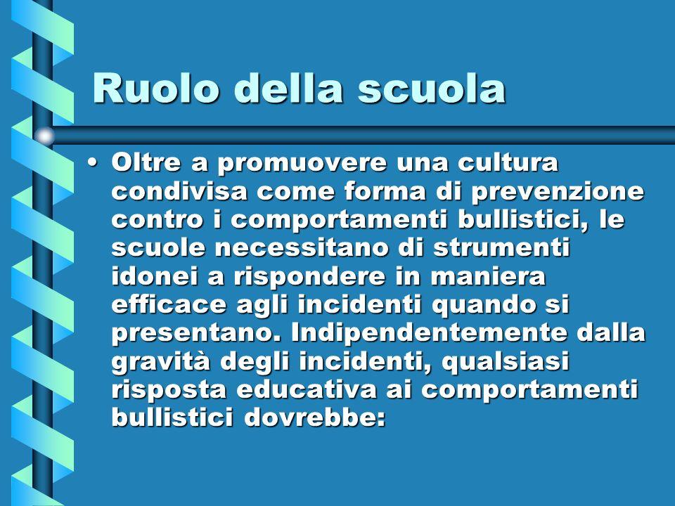 Ruolo della scuola Oltre a promuovere una cultura condivisa come forma di prevenzione contro i comportamenti bullistici, le scuole necessitano di stru