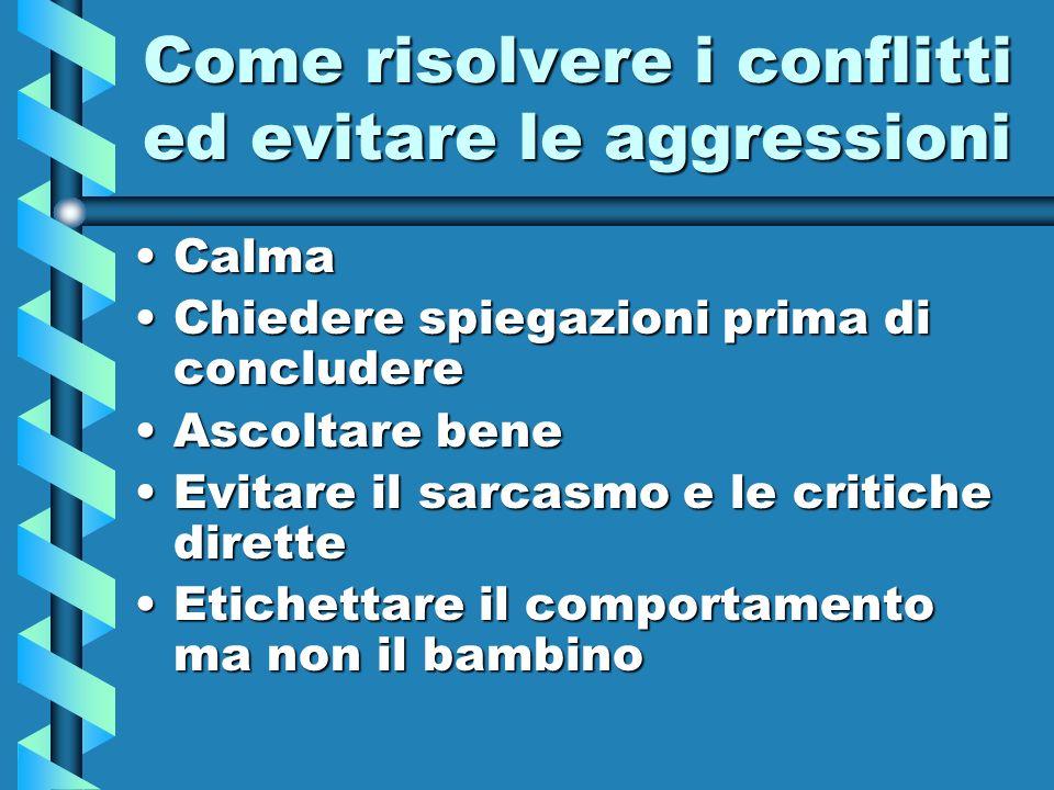 Come risolvere i conflitti ed evitare le aggressioni CalmaCalma Chiedere spiegazioni prima di concludereChiedere spiegazioni prima di concludere Ascol