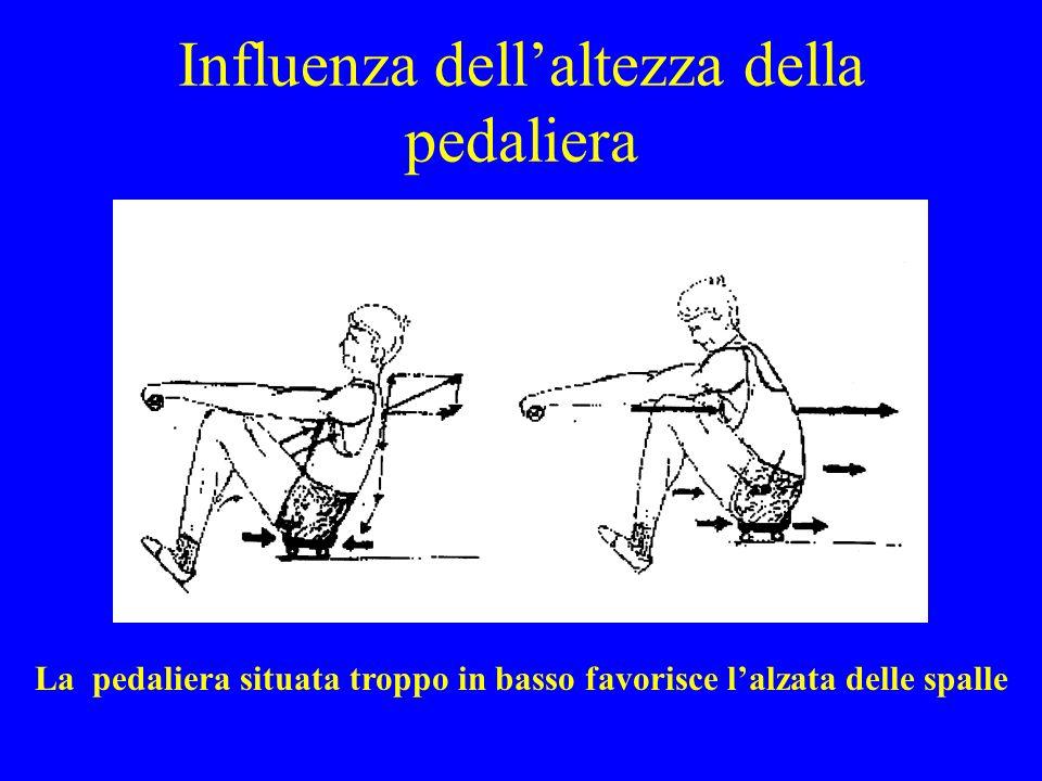 Influenza dellaltezza della pedaliera La pedaliera situata troppo in basso favorisce lalzata delle spalle