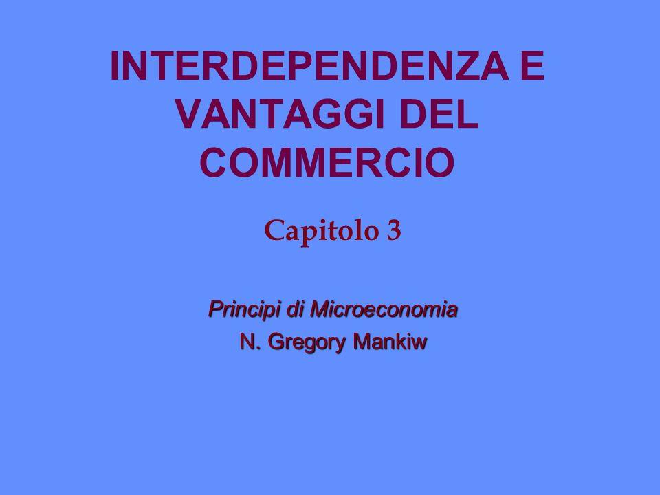 INTERDEPENDENZA E VANTAGGI DEL COMMERCIO Capitolo 3 Principi di Microeconomia N. Gregory Mankiw