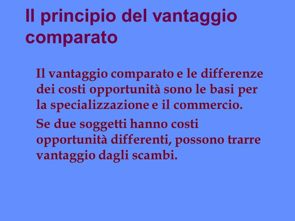 Il principio del vantaggio comparato Il vantaggio comparato e le differenze dei costi opportunità sono le basi per la specializzazione e il commercio.