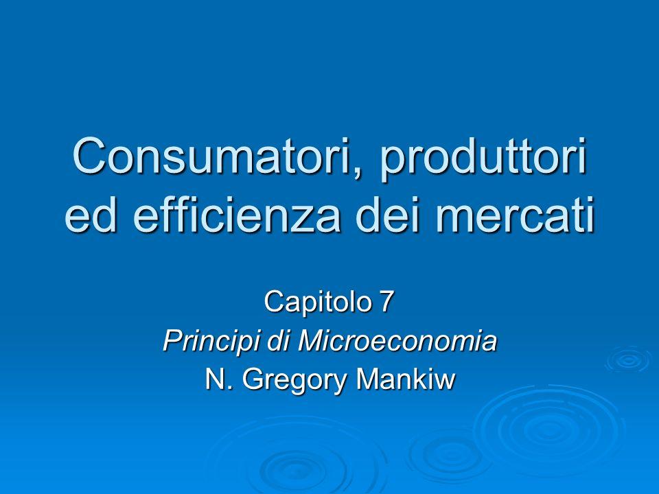 Conclusione La rendita del consumatore e quella del produttore misurano i benefici che il consumatore e il produttore possono trarre dal partecipare al mercato La rendita del consumatore e quella del produttore misurano i benefici che il consumatore e il produttore possono trarre dal partecipare al mercato