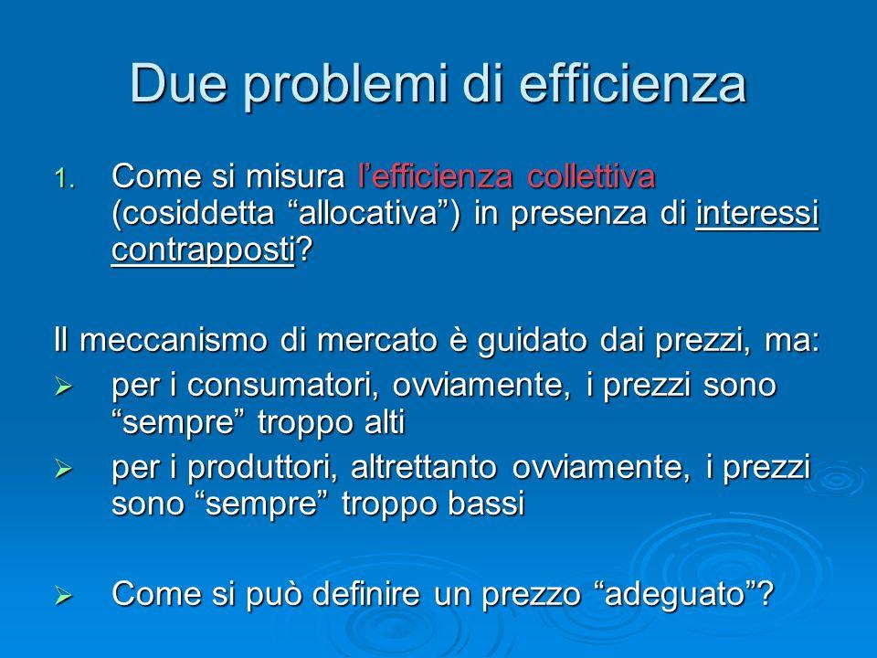 Efficienza paretiana Una situazione si dice paretianamente efficiente se non cè modo di migliorare la condizione di un soggetto senza per questo peggiorare quella di qualche altro soggetto.