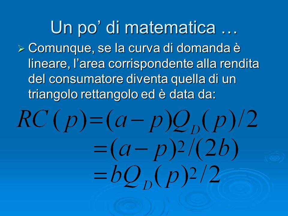 Un po di matematica … Comunque, se la curva di domanda è lineare, larea corrispondente alla rendita del consumatore diventa quella di un triangolo ret