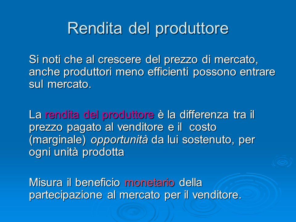 Rendita del produttore Si noti che al crescere del prezzo di mercato, anche produttori meno efficienti possono entrare sul mercato. La rendita del pro