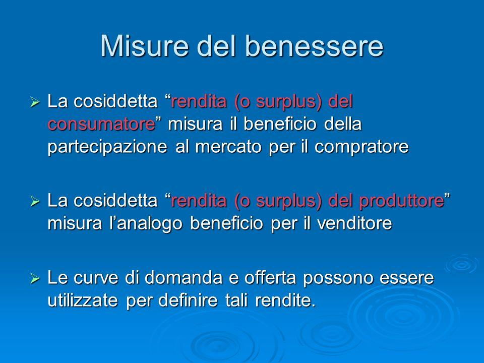 Misure del benessere La cosiddetta rendita (o surplus) del consumatore misura il beneficio della partecipazione al mercato per il compratore La cosidd
