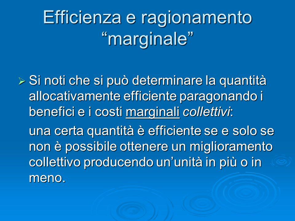 Efficienza e ragionamento marginale Si noti che si può determinare la quantità allocativamente efficiente paragonando i benefici e i costi marginali c