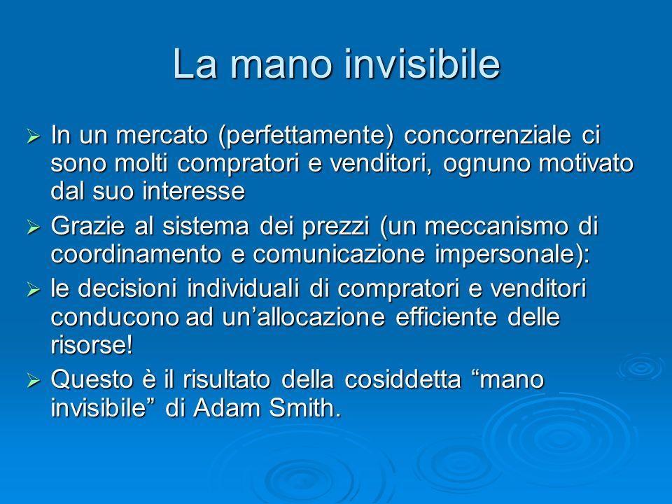 La mano invisibile In un mercato (perfettamente) concorrenziale ci sono molti compratori e venditori, ognuno motivato dal suo interesse In un mercato