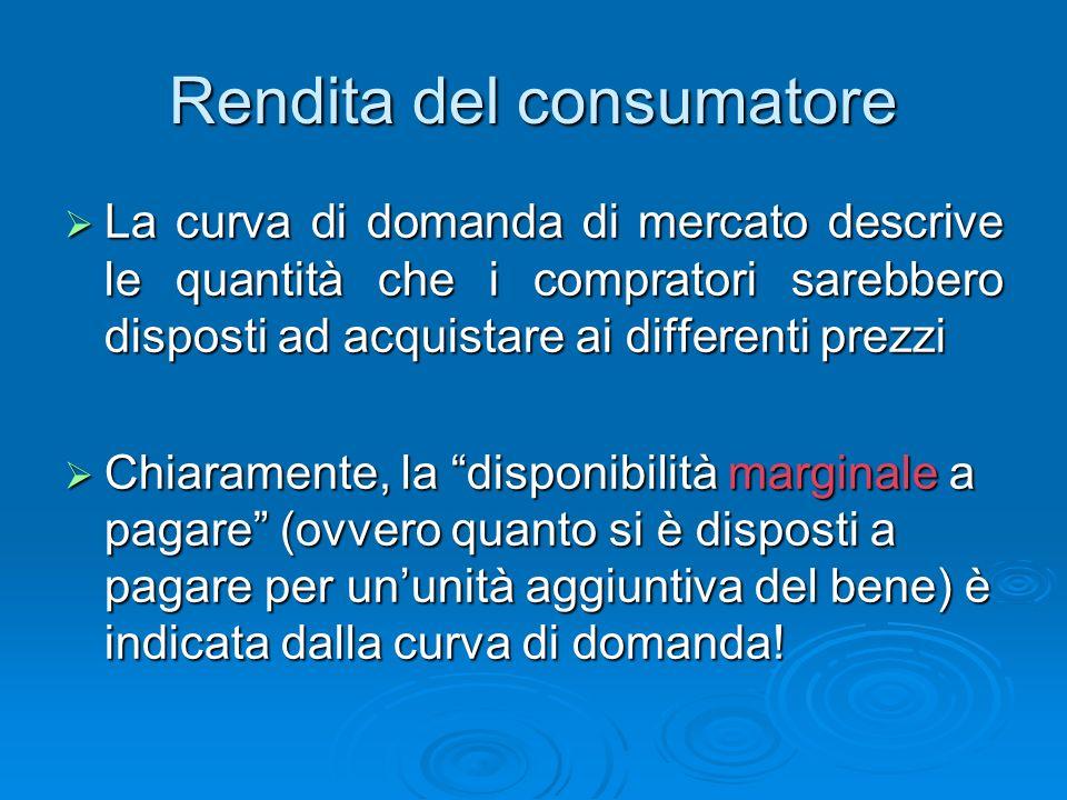 Rendita del consumatore La rendita del consumatore è la differenza tra la disponibilità a pagare di un compratore e il prezzo che paga effettivamente comperando su di un mercato, per ciascuna unità acquistata