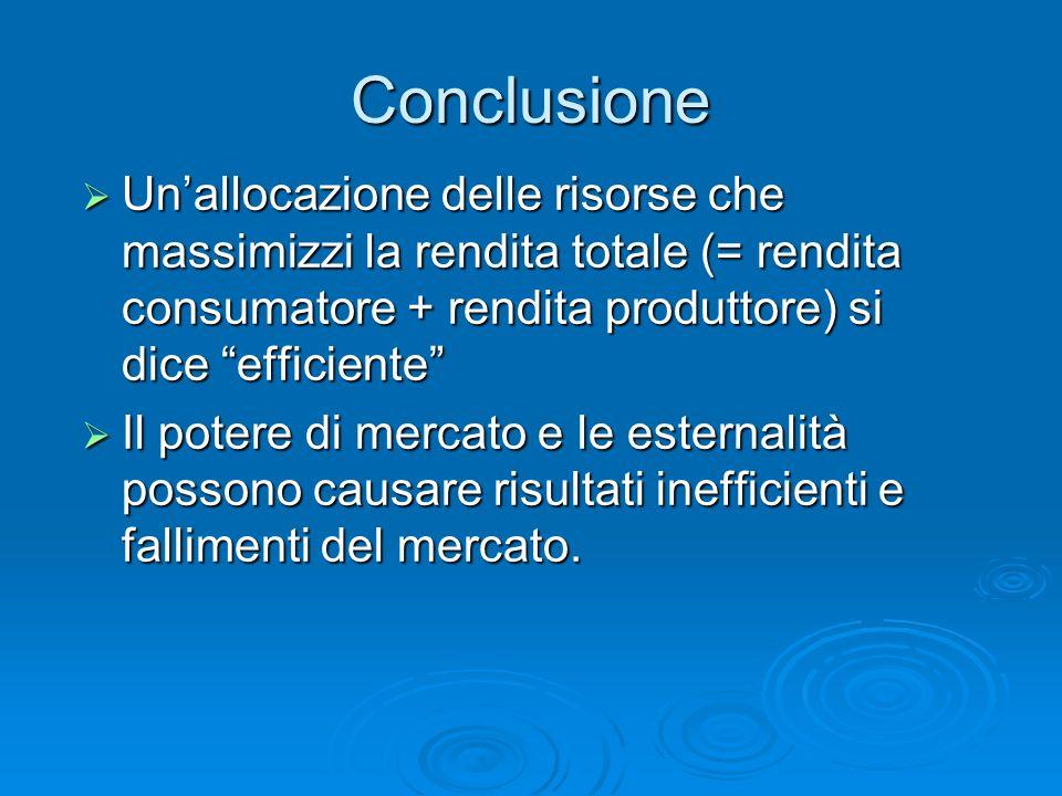Conclusione Unallocazione delle risorse che massimizzi la rendita totale (= rendita consumatore + rendita produttore) si dice efficiente Unallocazione