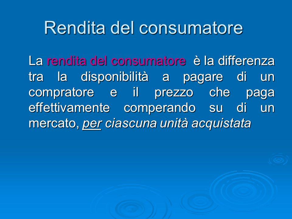 Rendita del consumatore La rendita del consumatore è la differenza tra la disponibilità a pagare di un compratore e il prezzo che paga effettivamente